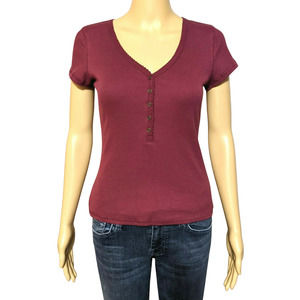 NWT Common Stitch S Wine Short Sleeve Ribbed Top